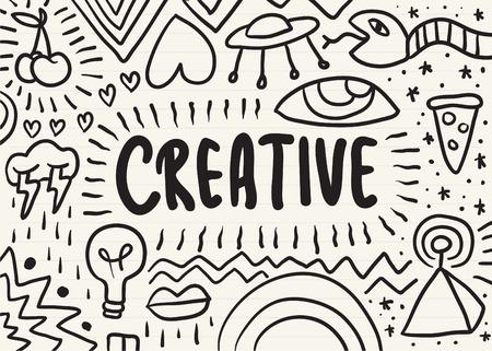 Creativo garabateado en un bloc de notas Ilustración de vector