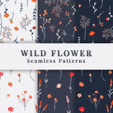 Wild flower seamless pattern vector 向量圖像