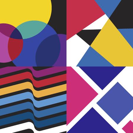 Colorful Swiss graphic design patterns collection Ilustración de vector