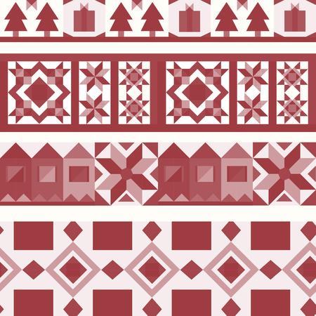 Red Christmas tiles geometrical design vector