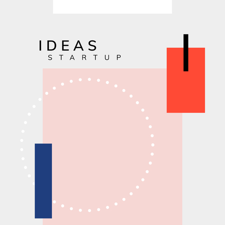 Minimal Memphis design start-up poster vector