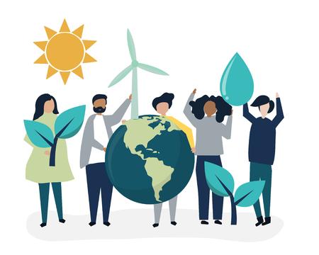 Persone con il concetto di sostenibilità ambientale