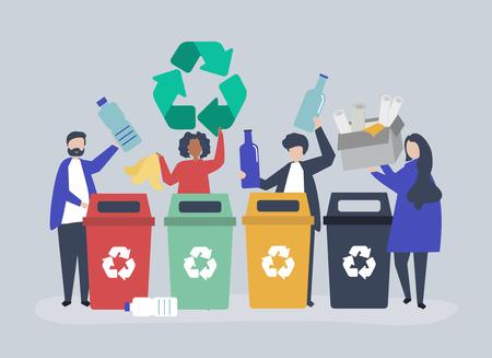 Les gens trient les ordures pour les recycler Vecteurs