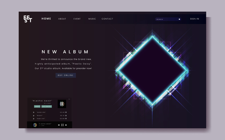 Website design for a new music album vector
