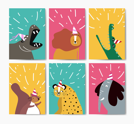 Collection of cute animals in party hats cartoon style vector