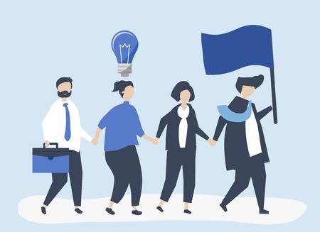 Geschäftsleute, die dem Marktführer folgen, um einen neuen Markt zu finden