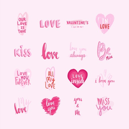Collection of valentines day typographies