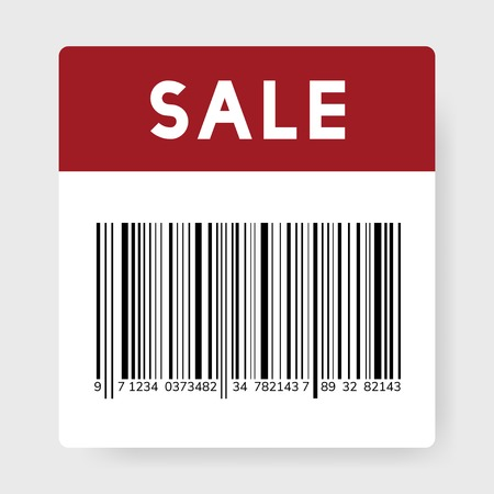 Sale black barcode icon vector Çizim