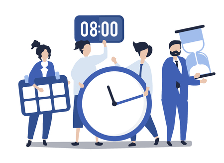 Characters of people holding time management concept illustration Stok Fotoğraf - 126213278