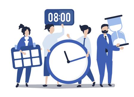 Charaktere von Leuten, die Zeitmanagementkonzeptillustration halten