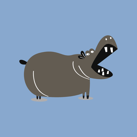 Cute wild hippo cartoon illustration