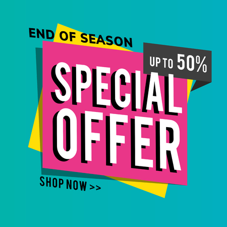 End of season special offer sale up to 59% shop promotion advertisement vector