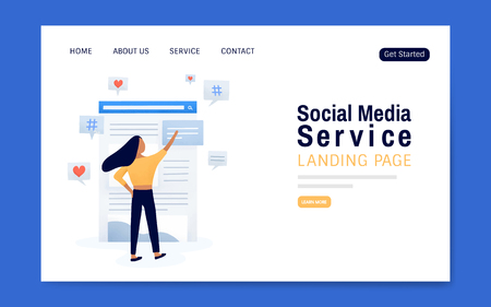 Vettore di layout della pagina di destinazione del servizio di social media