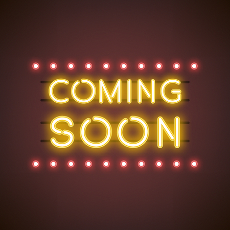 Yellow coming soon neon sign vector Foto de archivo - 126213315