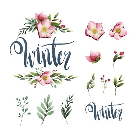 Winter watercolor calligraphy typography vector