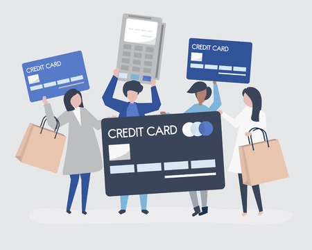 People shopping with a credit card Illustration
