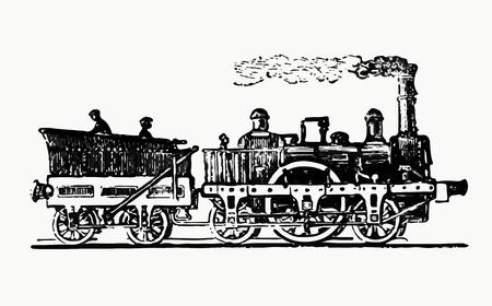 Vintage steam train illustration