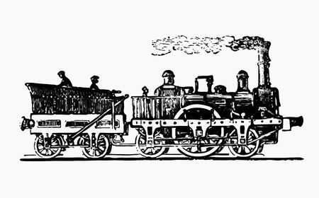 Vintage steam train illustration