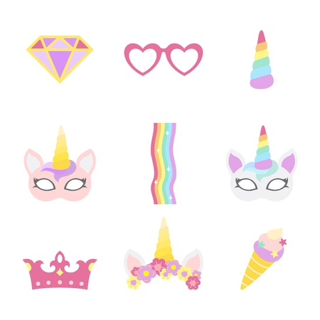 Cute unicorn photo booth party props vector Illustration