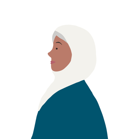 Strong muslim woman in profile vector Illustration
