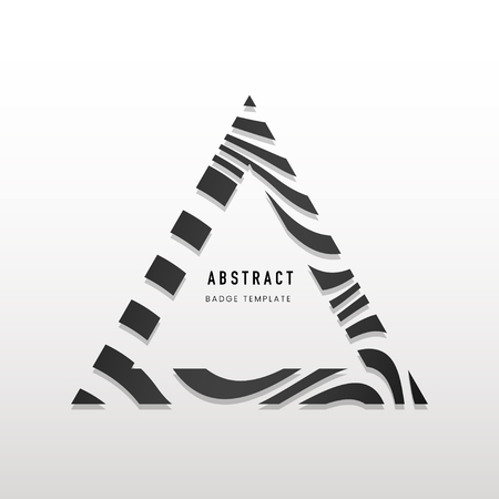 Triangular black and white abstract badge vector