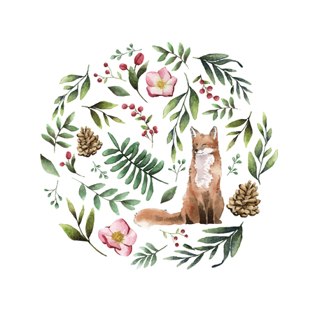 Fox in nature painted by watercolor Illustration