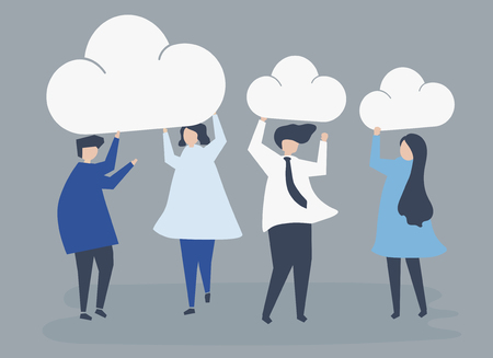 Characters of business people holding cloud icons illustration