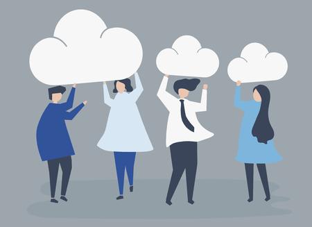 Karakters van zakenmensen die de illustratie van wolkenpictogrammen houden