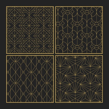 Golden geometric seamless patterns set on black background Archivio Fotografico - 115663920