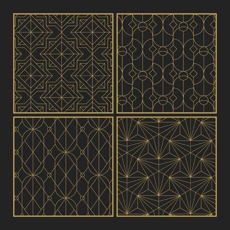 Modelli senza cuciture geometrici dorati impostati su sfondo nero Vettoriali