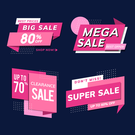 Shop sale promotion advertisements vector set