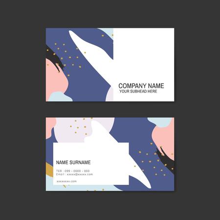 Colorful Memphis pattern business card vector Ilustração