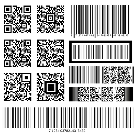 Barcode and QR code vectors