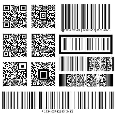 Vectores de código de barras y código QR