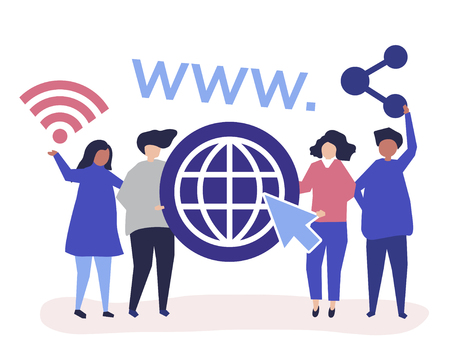 Character illustration of people holding world wide web icons Illusztráció