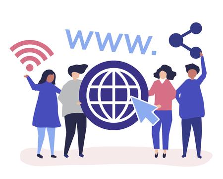 Illustration de caractère de personnes détenant des icônes du World Wide Web Vecteurs