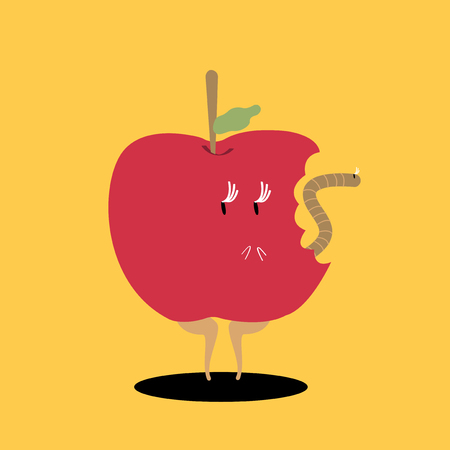 Bitten red apple cartoon character vector