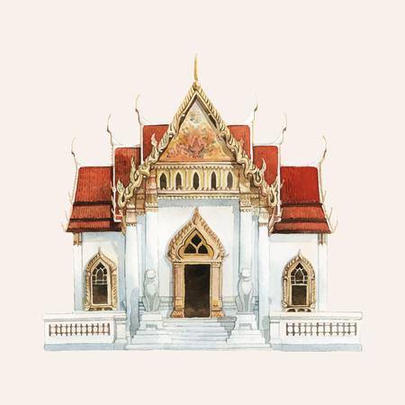 Il tempio Wat Benjamabhopit dipinto ad acquerello