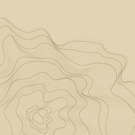Fondo de líneas de contorno de mapa abstracto marrón