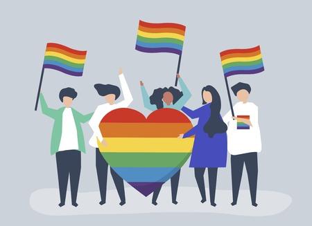 Ilustración de personajes de personas con iconos de apoyo LGBT
