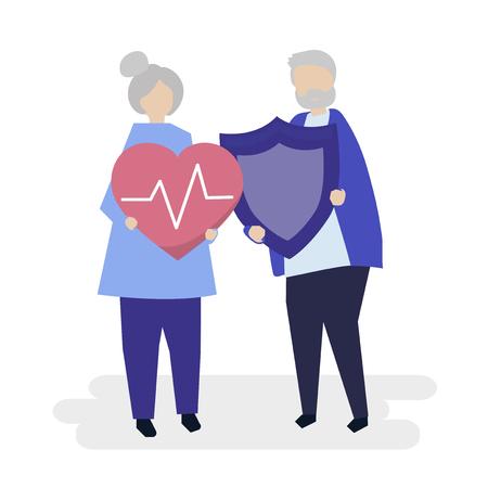 Senior couple holding health insurance icons