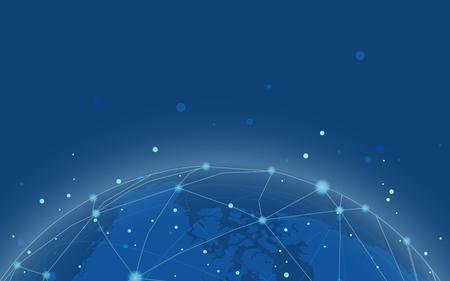 Vettore blu dell'illustrazione del fondo della connessione in tutto il mondo
