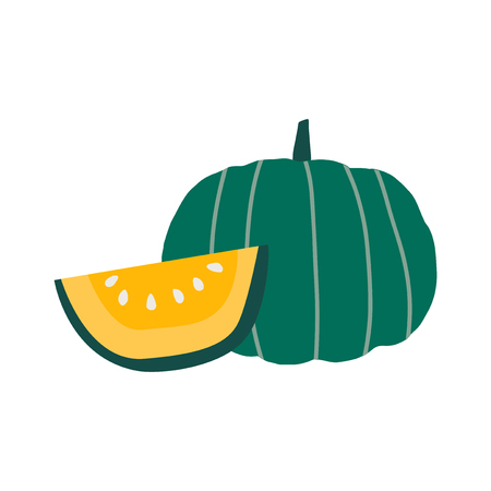 Cut pumpkin in yellow vector Illustration
