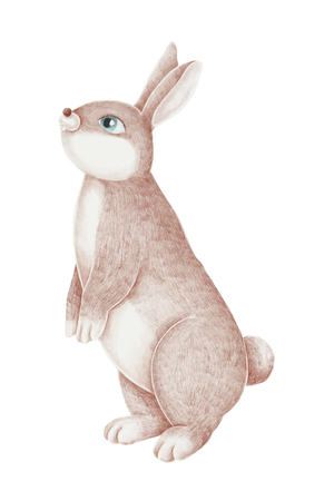 Hand-drawn pink rabbit on a white background Ilustrace