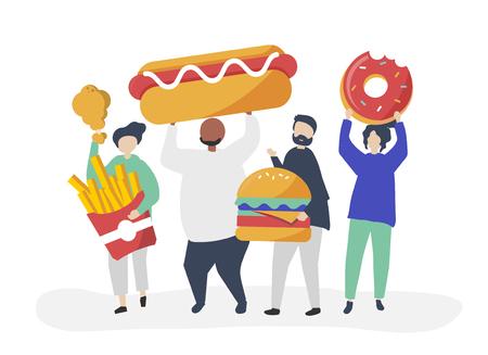 People eating junk food Иллюстрация