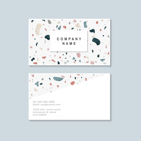 Colorful Terrazzo pattern business card vector 版權商用圖片 - 115665446