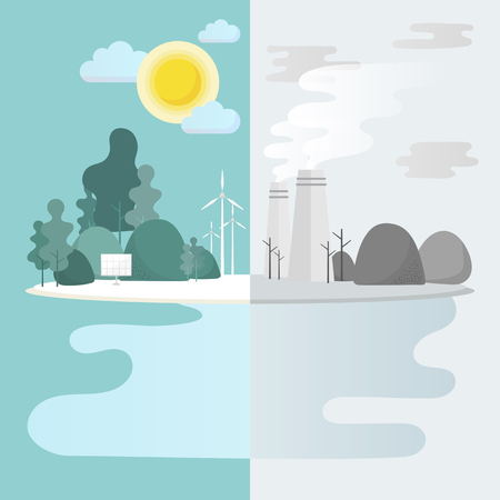 Green city environmental conservation vector  イラスト・ベクター素材