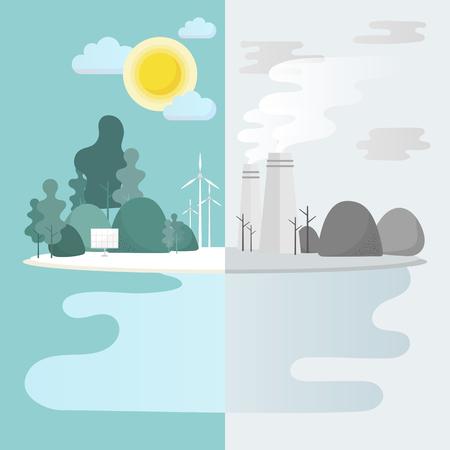 Green city environmental conservation vector Illustration