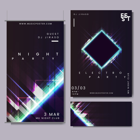 Night party event design set vector