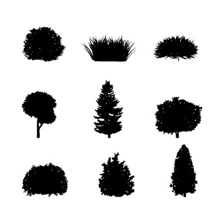 Silueta, de, árboles, y, arbustos